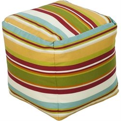 Surya Cube Pouf Ottoman in Red Green and Yellow