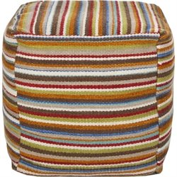 Surya Wool Cube Pouf Ottoman in Red Orange and Blue