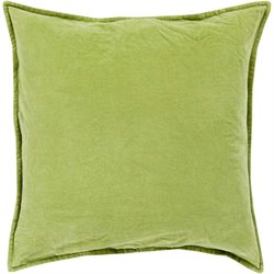 Cotton Velvet Poly Fill Square Pillow in Green