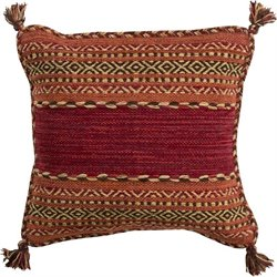 Trenza Poly Fill Square Pillow in Red