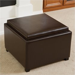 Trent Home Bowery Leather Tray Top Ottoman