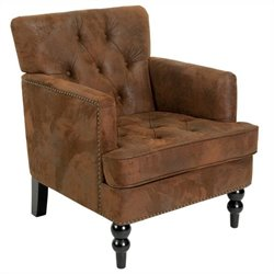 Trent Home Melissa Tufted Fabric Leather Club Chair in Brown