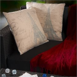 Trent Home Philippe Eiffel Tower Pillows in Beige (Set of 2)