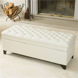 Trent Home Spencer Storage Ottoman in Ivory