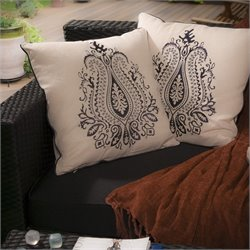 Trent Home Blanca Embroidered Pillows in Beige (Set of 2)