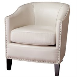 Trent Home Jeremy Leather Club Barrel Chair in Ivory