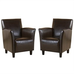 Trent Home Robin Leather Club Chair in Brown