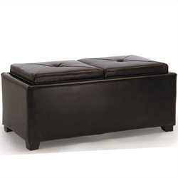 Trent Home Silvio Double Tray Ottoman in Brown