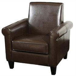 Trent Home William Leather Club Chair in Brown