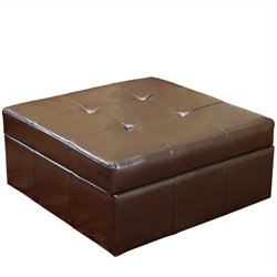 Trent Home Redondo Leather Storage Ottoman in Brown
