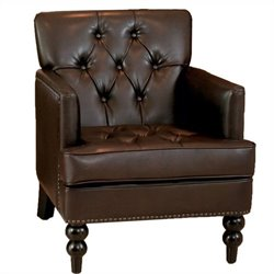 Trent Home Melissa Leather Tufted Club Chair in Brown