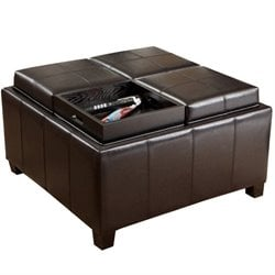 Trent Home Chloe Tray Top Storage Ottoman in Espresso Brown