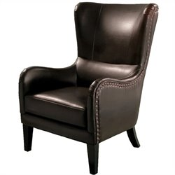 Trent Home Columbus Leather Club Chair in Brown