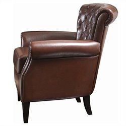 Trent Home Orlando Leather Club Chair in Brown