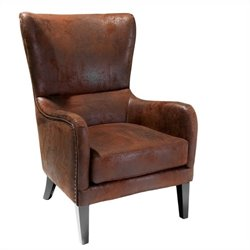 Trent Home Columbus Fabric Studded Club Chair in Brown