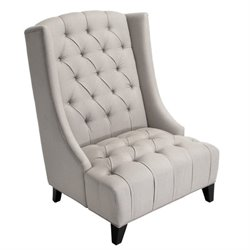 Trent Home Fabric Wingback Tufted Club Swayback Chair in Beige