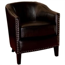Trent Home Jeremy Leather Club Chair in Black