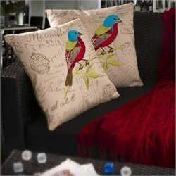 Trent Home Janette Embroidered Bird Pillows (Set of 2)