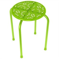 Daisy Side Metal End Table in Lime Green (Set of 2)