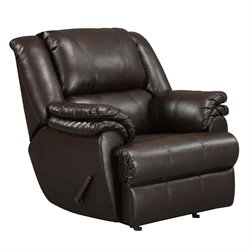 Faux Leather Recliner Rocker in Brown