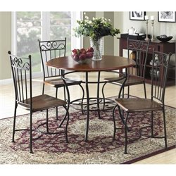 5 Piece Round Wood Top Dining Set in Black