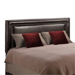 Faux Leather Upholstered Full Queen Headboard in Espresso