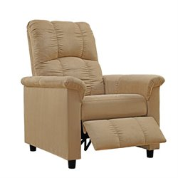 Slim Microfiber Recliner in Beige