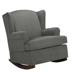 Wingback Nailhead Trim Rocker in Charcoal