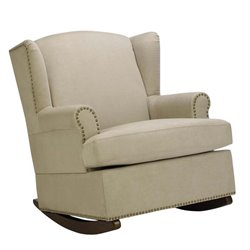 Wingback Nailhead Trim Rocker in Beige