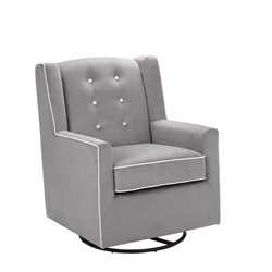 Emmett Tufted Swivel Glider in Graphite Gray