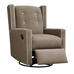 Upholstered Swivel Gliding Recliner in Mocha