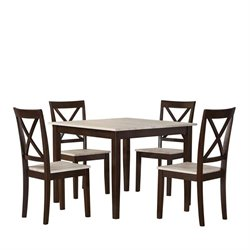 Rustic 5 Piece Square Dining Set in Espresso