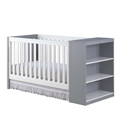 Ayla 2-in-1 Convertible Crib in White and Gray