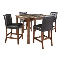 5 Piece Faux Marble Top Counter Height Dining Set