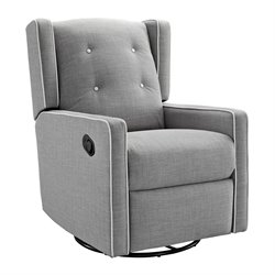 Upholstered Swivel Gliding Recliner in Light Gray