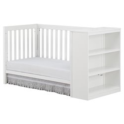 2 in 1 Convertible Crib with Storage in White