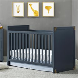 2 in 1 Convertible Crib in Graphite Blue