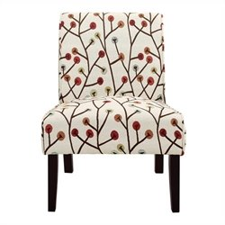 Accent Slipper Chair in Ivory Floral Pattern