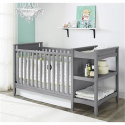 2-in-1 Convertible Crib and Changing Table Combo Set in Gray