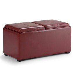 3 Piece Faux Leather Storage Ottoman in Red