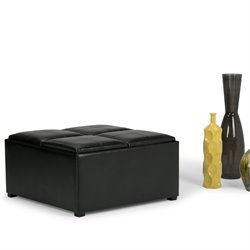 Faux Leather Coffee Table Storage Ottoman in Black