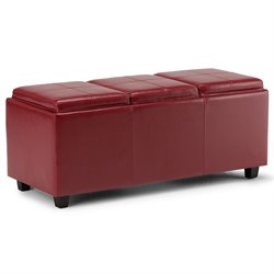 Faux Leather Storage Bench in Red