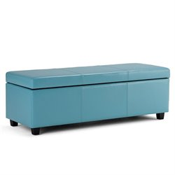 Faux Leather Storage Bench in Blue