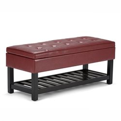 Faux Leather Storage Bench in Radicchio Red