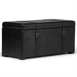 Faux Leather 3 Piece Storage Ottoman in Black