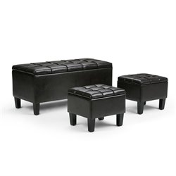 Faux Leather 3 Piece Storage Ottoman in Brown