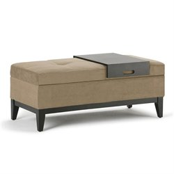 Storage Bench with Tray in Khaki Beige