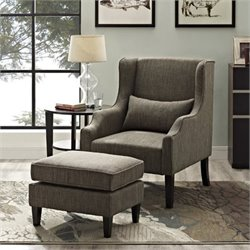 Wingback Club Chair and Ottoman in Fawn Brown