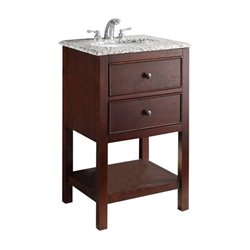 Simpli Home Burnaby Single Granite Top Bathroom Vanity in Walnut Brown