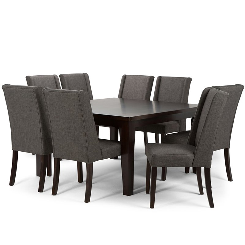 9 piece square dining set in slate gray axcds9sb gl for Square dinette sets